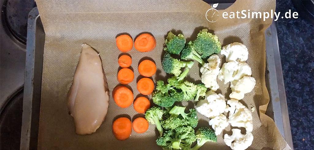 Rezeptbild zu Low Carb Ofengemüse mit Hähnchenfilet als Abnehmrezept und zum Fettabbau