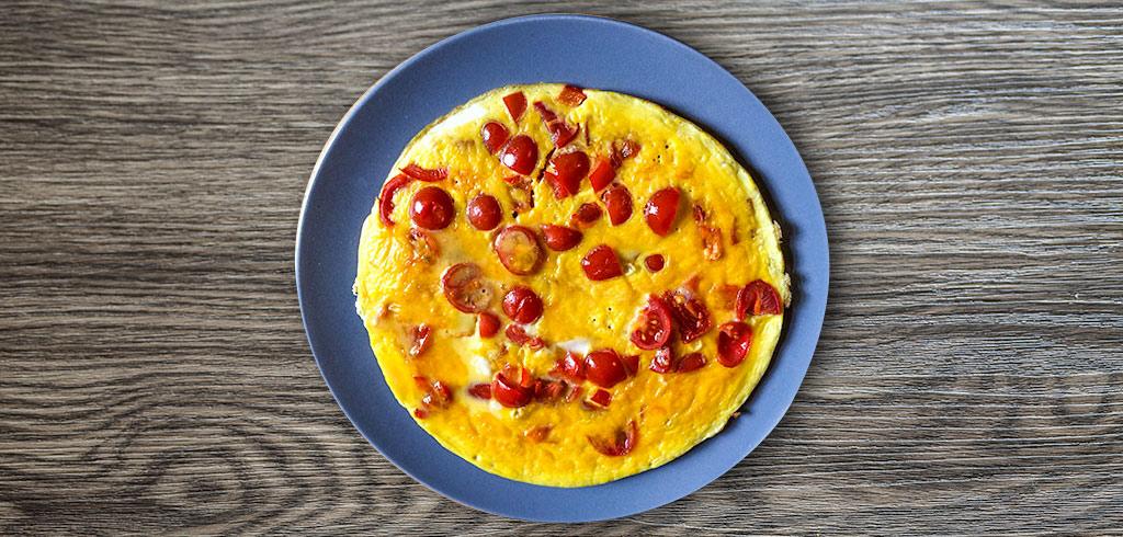 Rezeptbild zu Omelette mit Schinken und Tomate als Abnehmrezept und zum Fettabbau