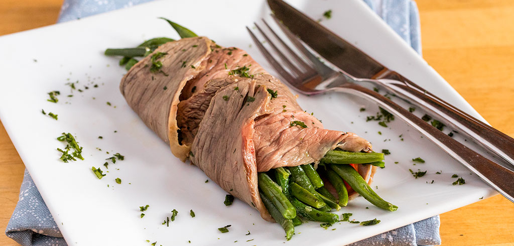 Rezeptbild zu Grüne Bohnen mit Roastbeef als Abnehmrezept und zum Fettabbau