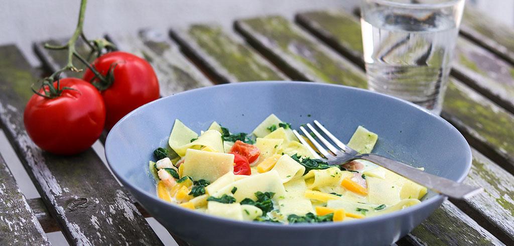 Rezeptbild zu Fettuccine Wildlachs & Shrimps von Frosta als Abnehmrezept und zum Fettabbau