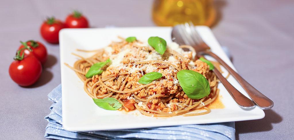 Rezeptbild zu Spaghetti mit Soja-Bolognese (vegan) als Abnehmrezept und zum Fettabbau