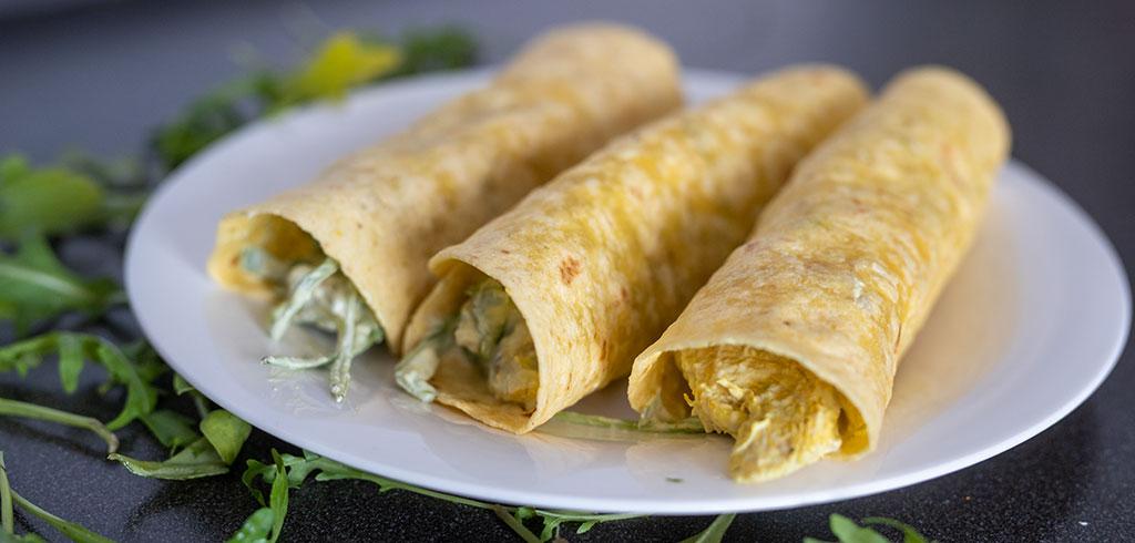 Rezeptbild zu Hähnchen - Avocado - Rucola - Burrito als Abnehmrezept und zum Fettabbau
