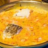 Vorschaubild für Fisch mit Shrimps, Mango, Erbsen in Kokos-Curry Soße