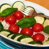 Vorschaubild für Kabeljau mit mediterranen Gemüse aus dem Ofen