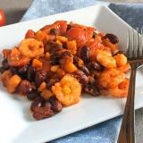 Vorschaubild für Garnelen-Kürbis-Bohnen Pfanne in pikanter Tomaten-Curry-Würze