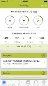 Planung der Rezepte mit der Ernährungsplan App