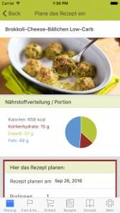 Rezeptdetails in der Ernährungsplan App