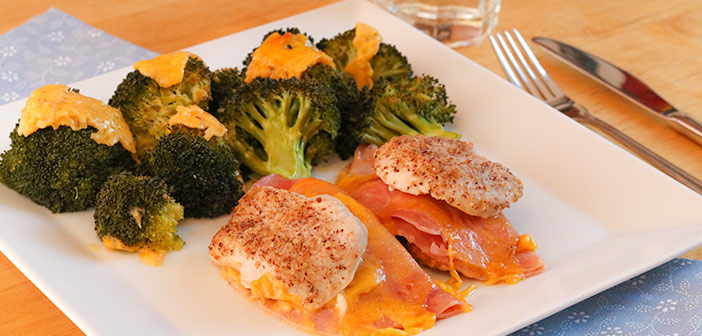 Low Carb Cordon Bleu Schnitzel mit Brokkoli