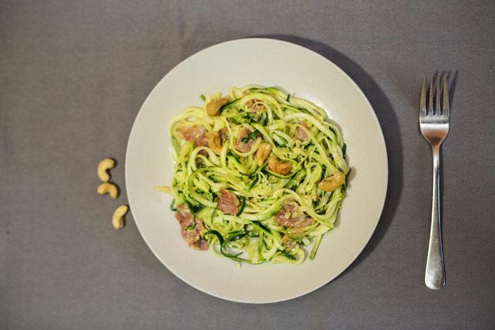 Spaghetti Carbonara als Low Carb Variante Draufsicht