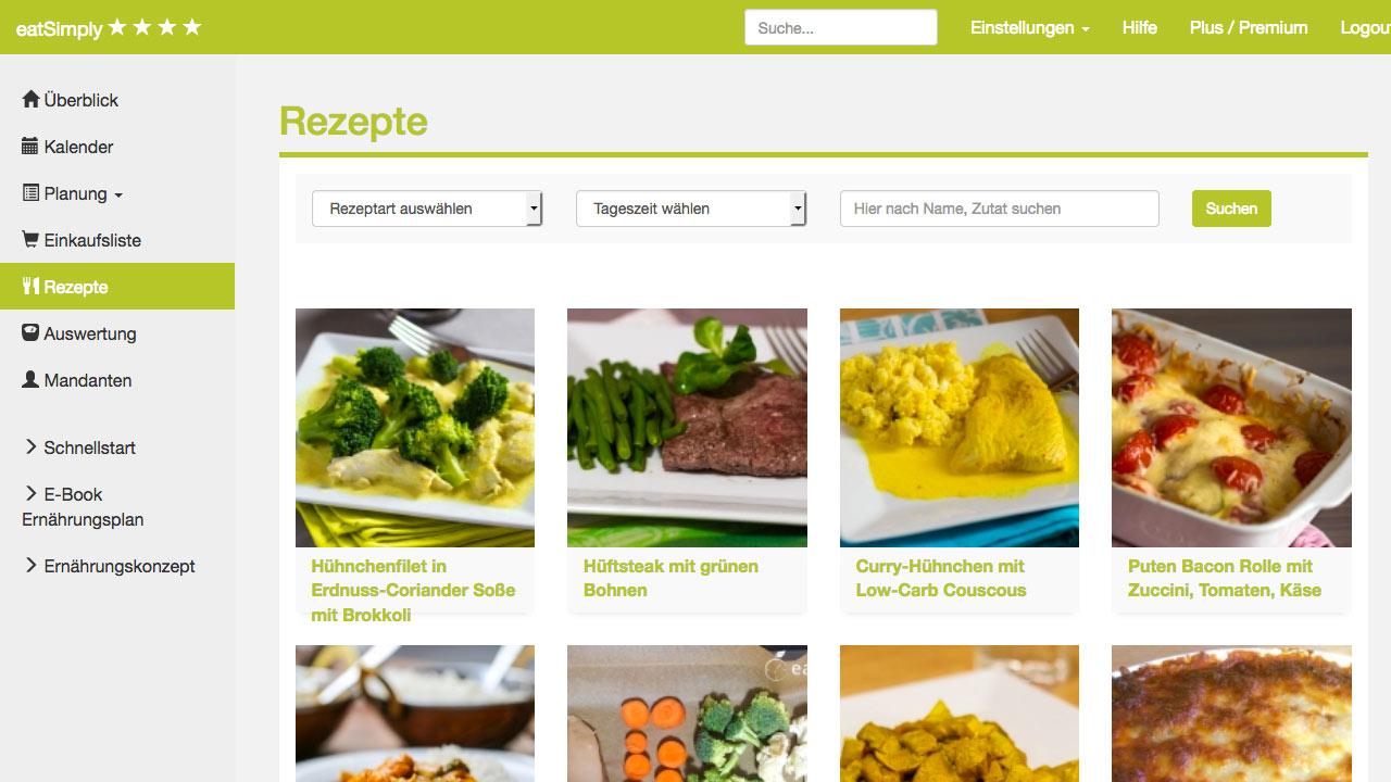 Große Rezeptdatenbank für den Ernährungsplan in der App